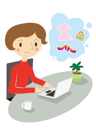 manipulate: Woman online shopping