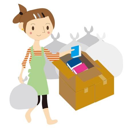 Vrouw opruimen Stock Illustratie