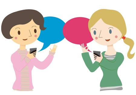 Conversations with translation app Stock Vector - 17733415