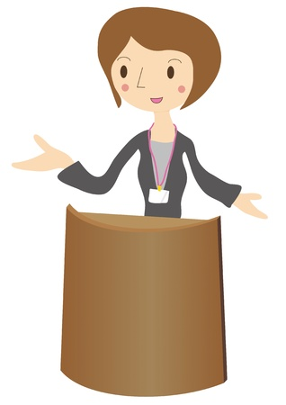 Illustration of a woman during a presentation