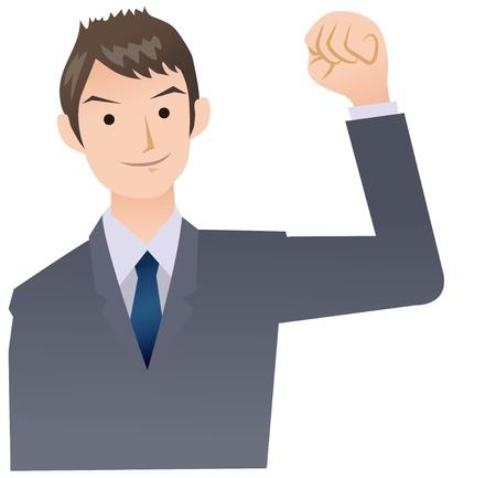 Pose of businessman yell