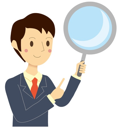 pointing up: Man with a magnifying glass Illustration