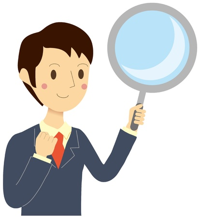 Man with a magnifying glass Stock Vector - 19380586
