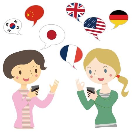 Woman talking on the translation app  Vector