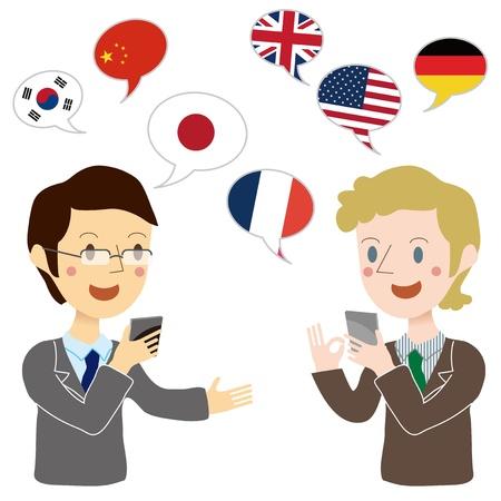 翻訳アプリと会話している実業家  イラスト・ベクター素材