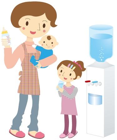 親と子のウォーター サーバー  イラスト・ベクター素材