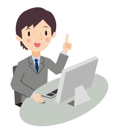 パーソナル コンピューターとビジネスの男性のイラスト