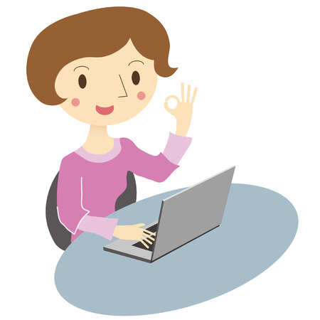 buisiness: Women by operating the laptop, give the OK sign Illustration