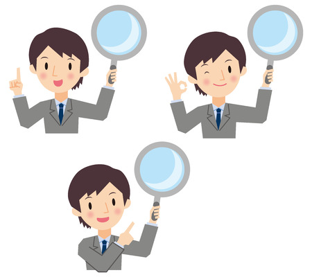 Businessman with a loupe Vector