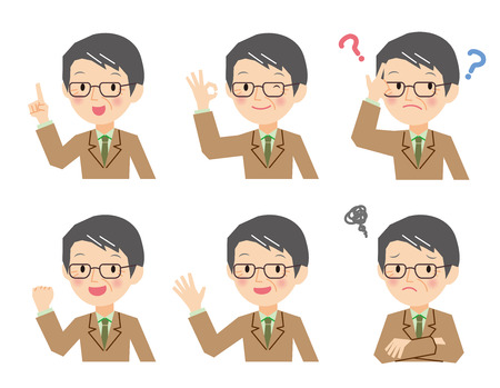 Senior businessman generation of various expressions 向量圖像