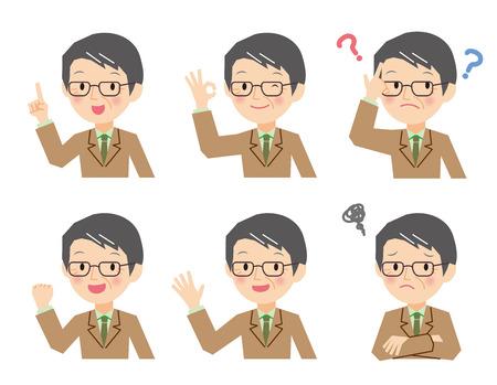 Senior businessman generation of various expressions Illustration