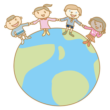 Earth and the children of the world holding hands Illustration