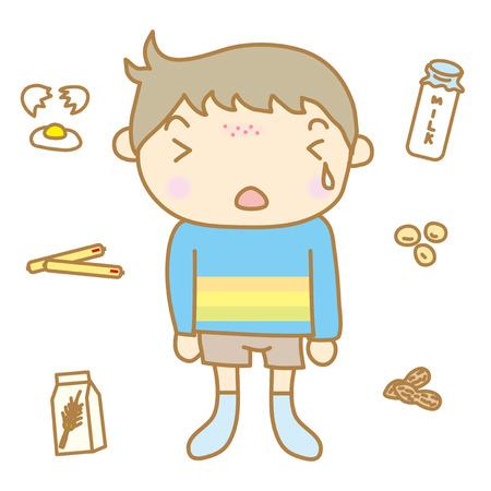 redness: Children food allergy Illustration