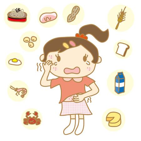 pokrzywka: Dzieci z alergią pokarmową Ilustracja