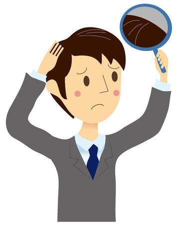 男性成長灰色の髪が来た  イラスト・ベクター素材