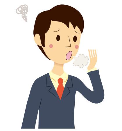 Men who have bad breath check Vector