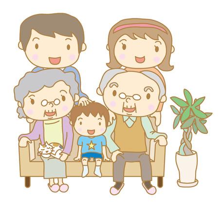 vieil homme assis: Famille assis sur un canap� Illustration