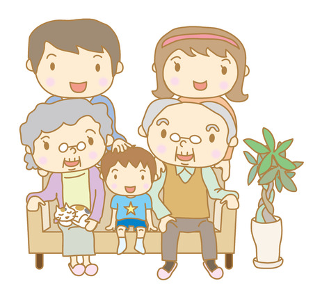 Family sitting on sofa Stock Vector - 25514796