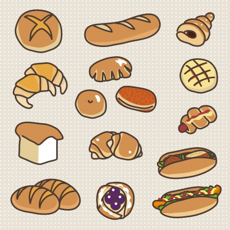 french countryside: Various types of bread Illustration
