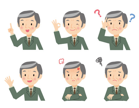 Senior businessman of various expressions Illustration