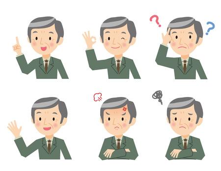 Senior businessman of various expressions Illustration