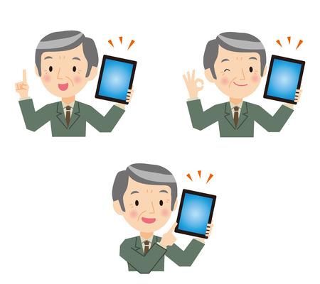 Senior businessman to have a tablet terminal Illustration