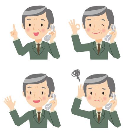 Senior businessmen have a phone Illustration