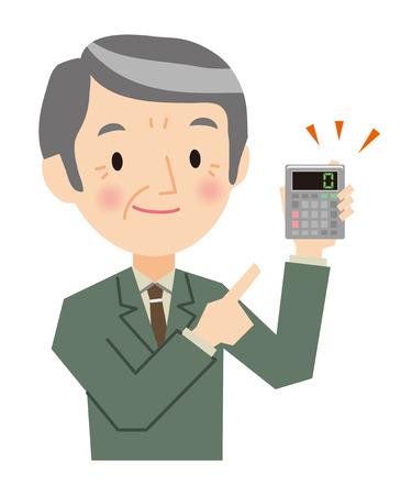 Senior businessman with a calculator