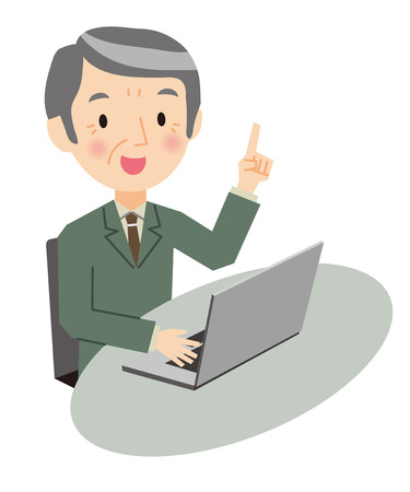 Senior zakenman en laptop Stock Illustratie