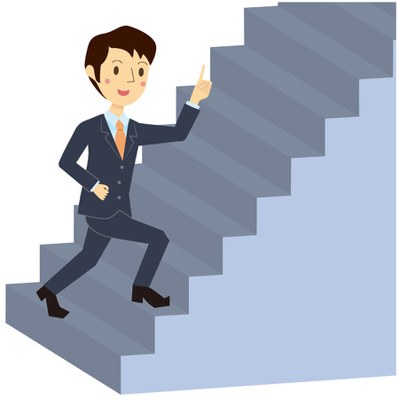 Men walks up the stairs