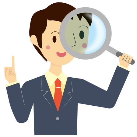 inspection: Men looking through the magnifying glass