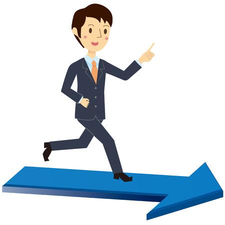 Men runs on the arrow Illustration