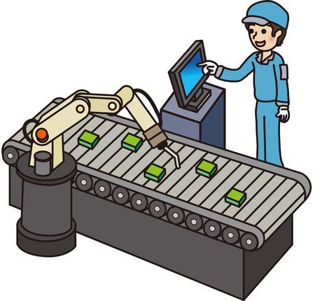 工場で男性作業員  イラスト・ベクター素材