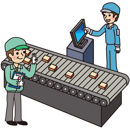 conveyor system: People who work at the factory