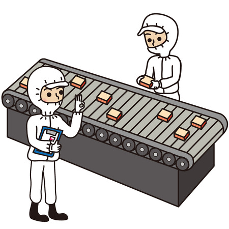 conveyor system: Clean room factory workers, management and check Illustration