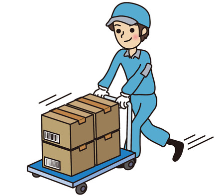 Male worker carrying cardboard Illustration
