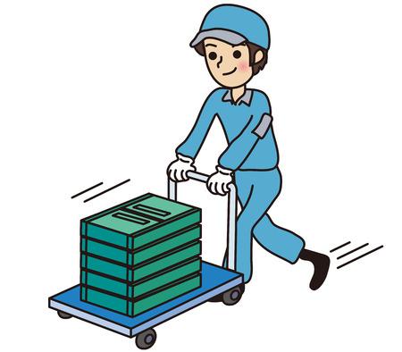 carrying box: Trabajador de sexo masculino que lleva una caja contenedora