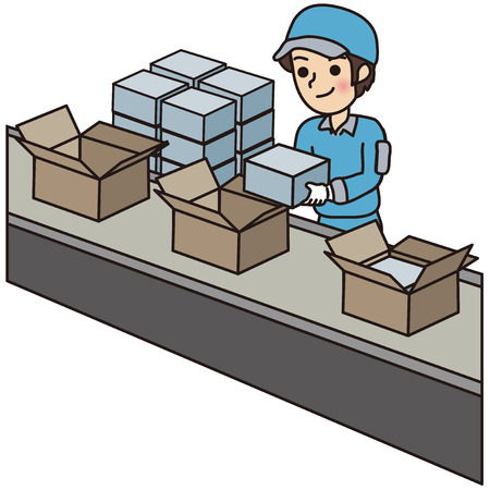 assembly line: Man packing boxes Illustration