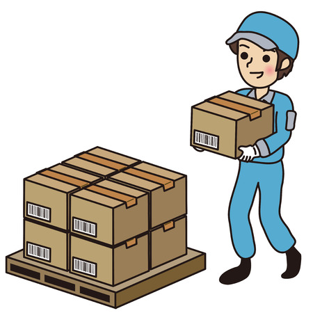 warehouse worker: Man carrying a cardboard box
