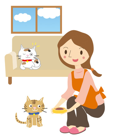 To take care of the cat, female pet-sitter Vector