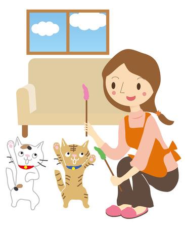 女性ペット シッター、猫の世話をする  イラスト・ベクター素材