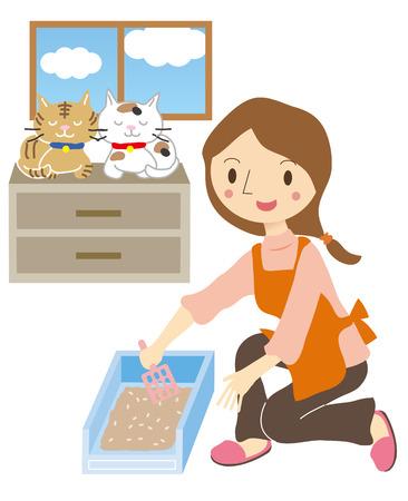 고양이를 돌보는 여성의 애완 동물 보모 일러스트
