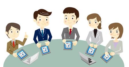 Business team nel corso di una riunione Vettoriali