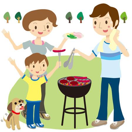 バーベキューを楽しむ親子  イラスト・ベクター素材