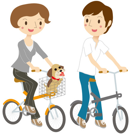 Dog with a couple riding a bicycle