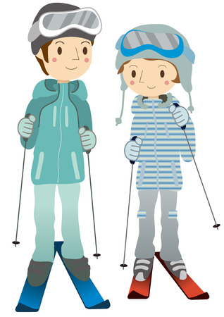 ski wear: Couple skiing Illustration