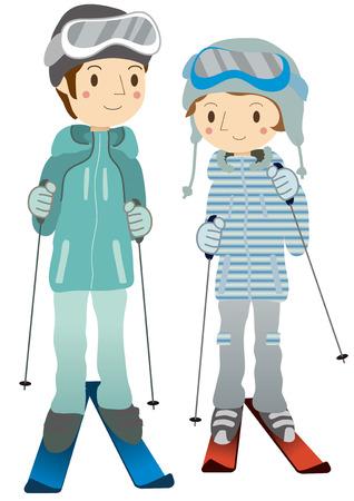 Couple skiing Illustration