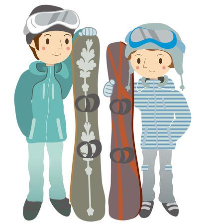 snowboarding: Couple snowboarding Illustration