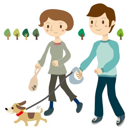 犬のカップルを散歩
