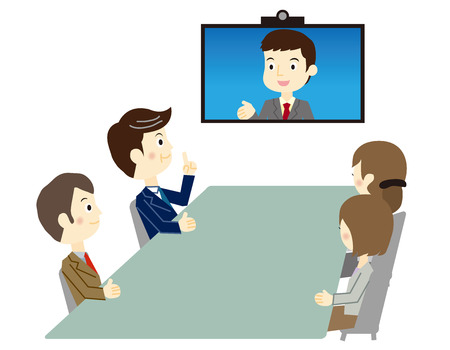 ビデオ会議のビジネス人  イラスト・ベクター素材